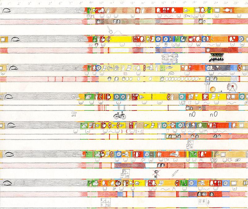 20. Woche 2004 Farbstiftzeichnung 35,6 x 41,7cm