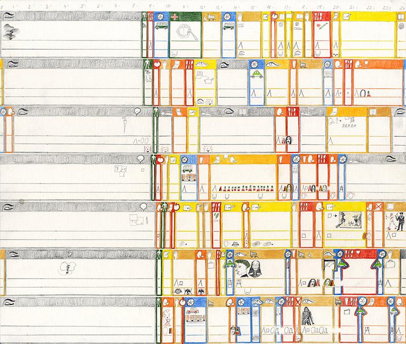 34. Woche 2004 Farbstiftzeichnung 35,6 x 41,7cm