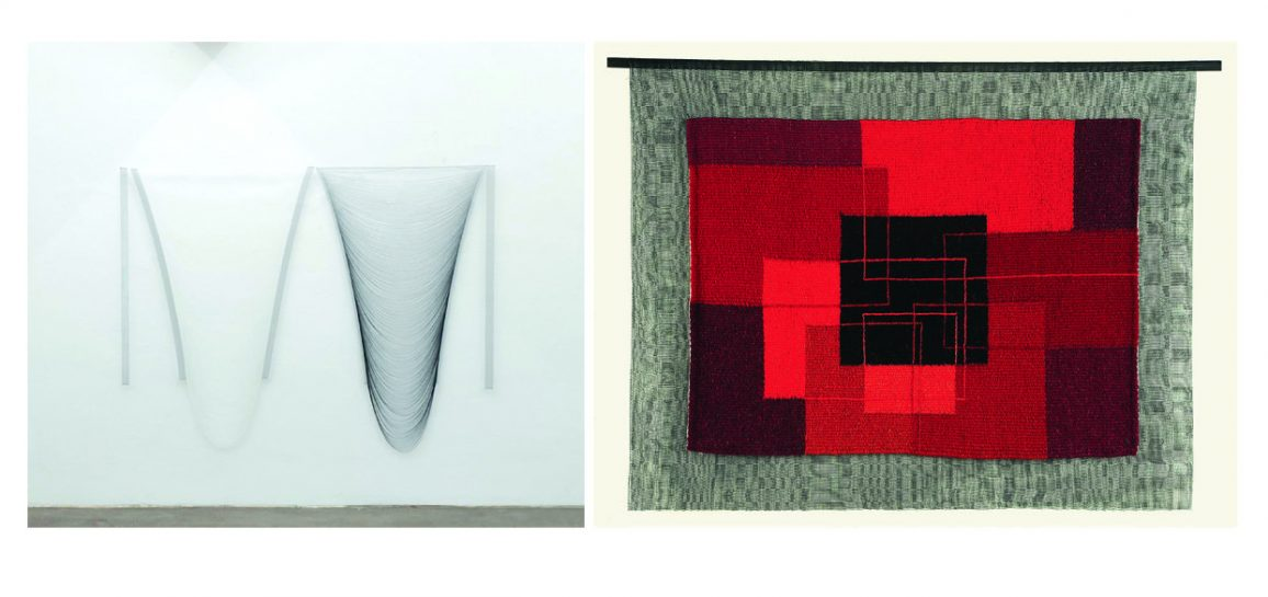 Abb. links: Andrea Pesendorfer, weißschwarz, Diptychon, Changeant Fäden gezogen, 2016 Foto Jens Sundheim, Abb. rechts: Marina Mamyan Black Square in the red, gewoben, 2010